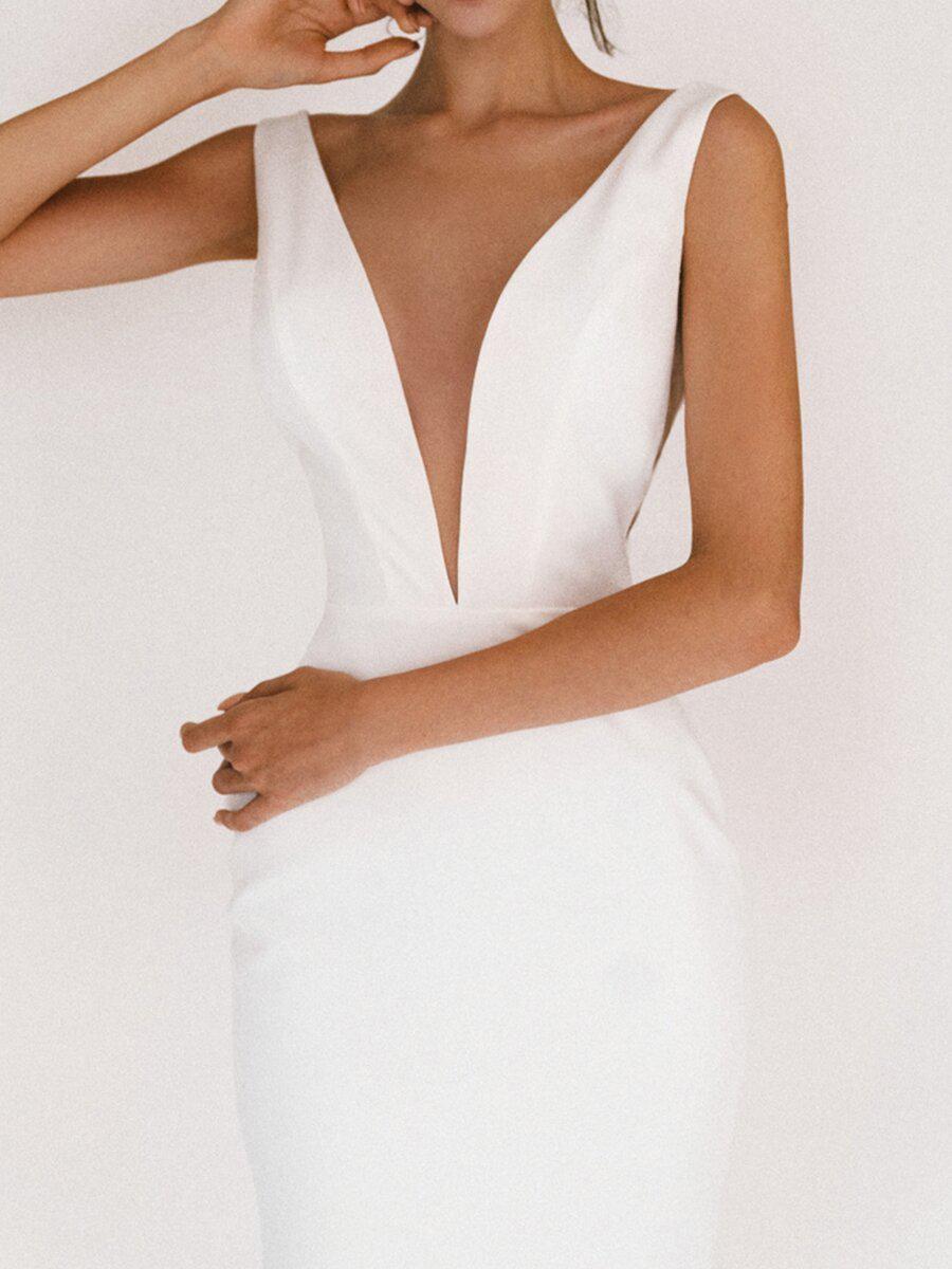 V Neck Elegant Sexy Bodycon White Party Dresses