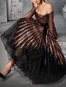Sequined Off Shoulder Long Sleeve Evening Dresses