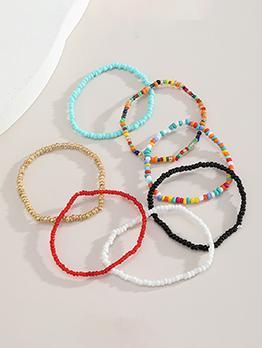 Bohemia Contrast Color Solid Beading Bracelet Sets