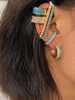 Fashion Rhinestone C-Shape Ear Clip Sets