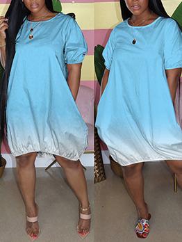 Plus Size Gradient Color Short Sleeve Dress