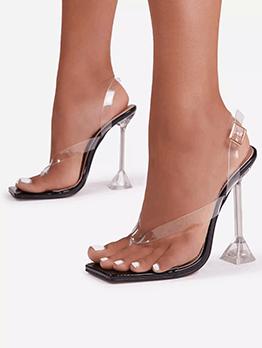 Summer Square Toe Goblet Heeled Flip Flop Slippers
