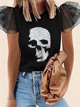 Skull Print Patchwork Gauze Women Blouse