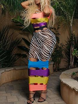 Contrast Color Hollow Out Off Shoulder Maxi Dress