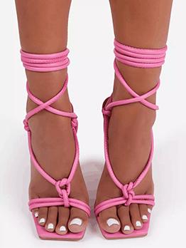 Trendy Cross Strap Pure Color Ladies Sandal