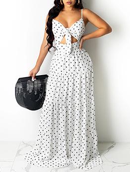 Sexy Tie-Wrap Hollow Out Dot Maxi Dress