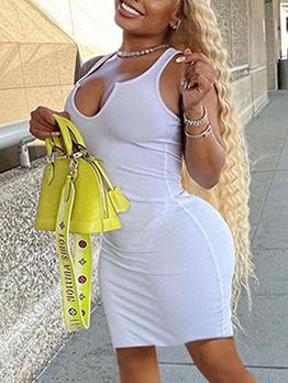 Leisure Pure Color V Neck Sleeveless Short Dress