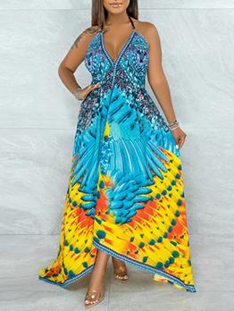 Printed V Neck Tie Wrap Halter Maxi Dresses
