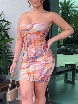 Summer Sexy Tie Dye Strapless Dresses