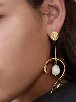 Personality Faux Pearl Geometric Designer Earrings