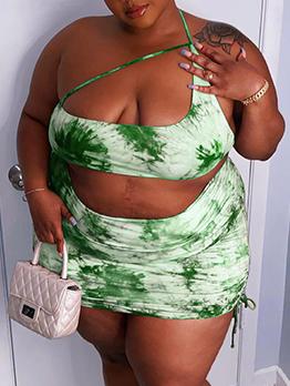 Off Shoulder Tie Dye Plus Size Bodycon Skirt Set
