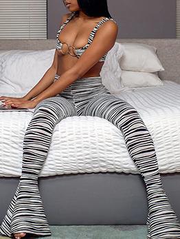 Zebra Print Low-Cut Two Piece Pant Sets