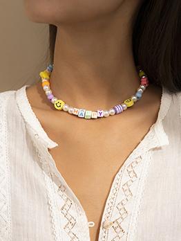 Vintage Contrast Color Choker Necklace