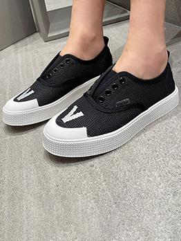 Hollow Out Black Versatile Women Slip On Shoes