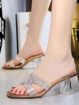 Fashion Square Toe Glitter Chunky Heel Slippers