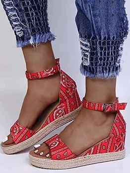 Paisley Print Roman Style Retro Wedge Sandals