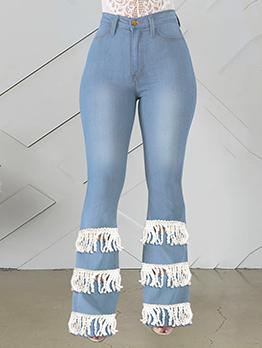 Plus Tassel Hole Patchwork Bootcut Jean For Women