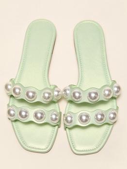 Fashion Korean Faux-Pearl Solid Slide Slippers