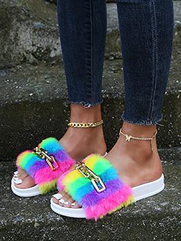 Contrast Color Artificial Plush Slide Slippers