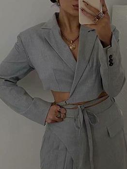Summer Solid British Style Long Sleeve Short Coat