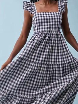 Ruffled Plaid Square Neck Summer Maxi Dresses