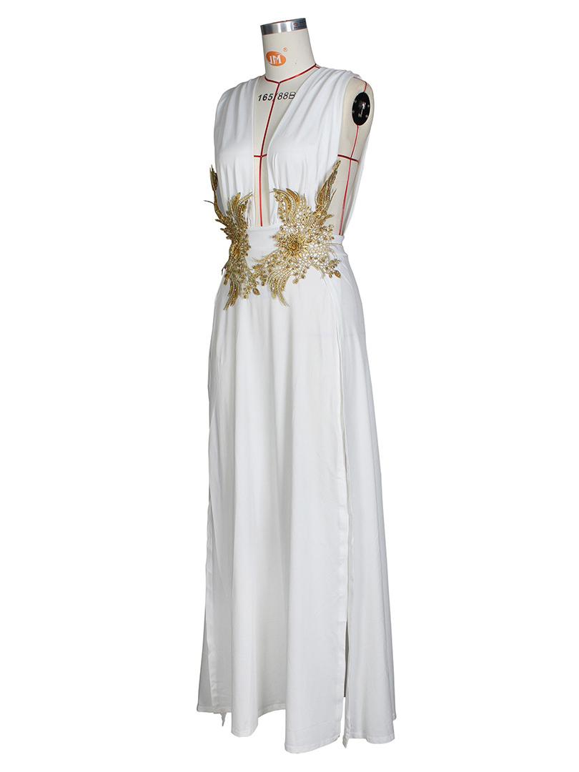 Fashion V Neck Slit Ladies Party Dress