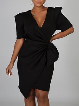 Fashion V Neck Solid Half Sleeve Dress