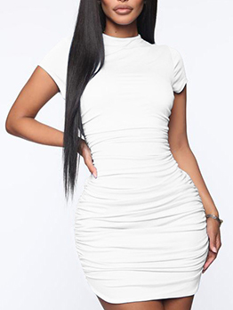 Ruched Crew Neck Short Sleeve Bodycon Dress