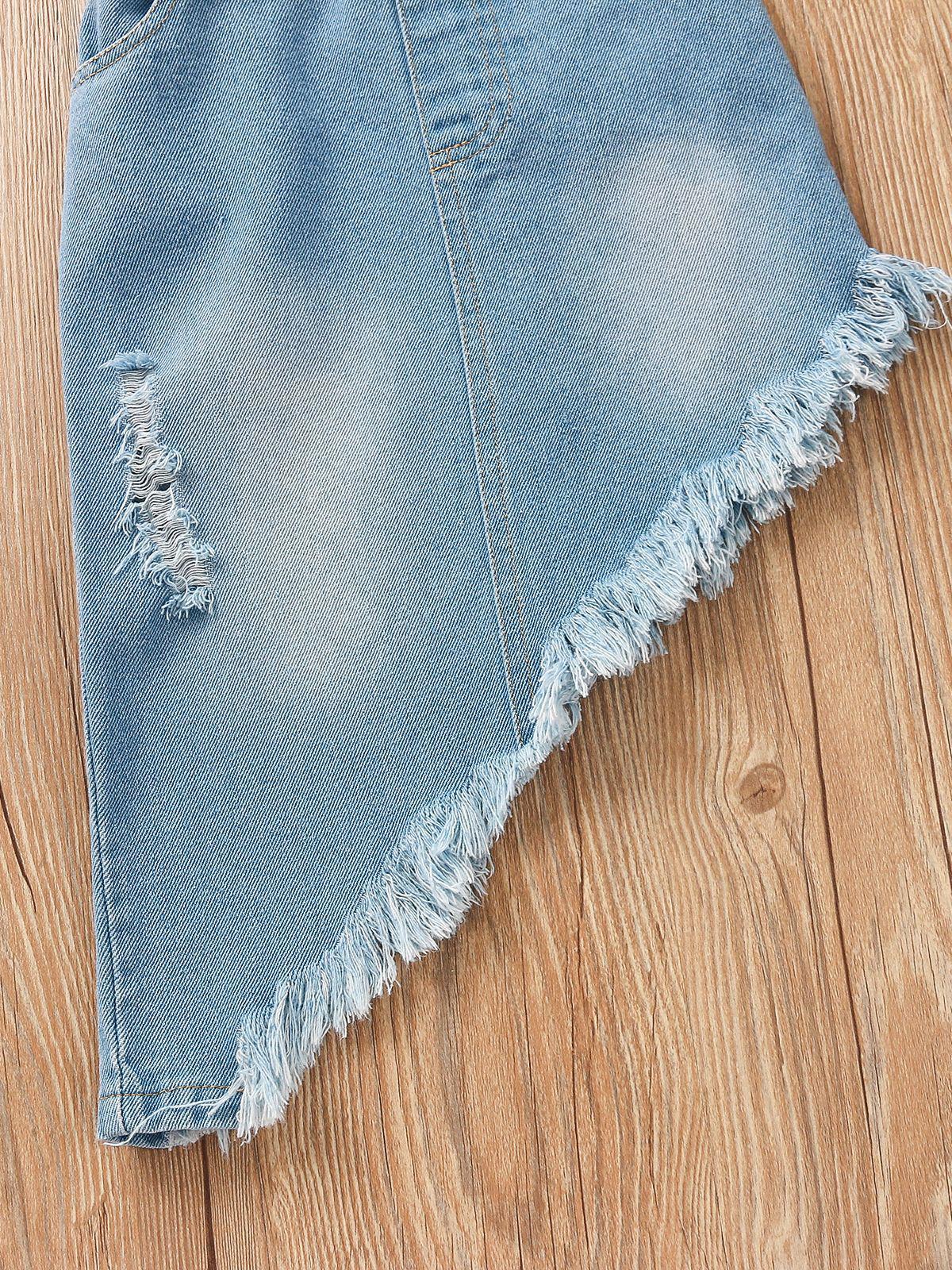 Girl Printed T-Shirt And Irregular Ripped Tassel Skirt