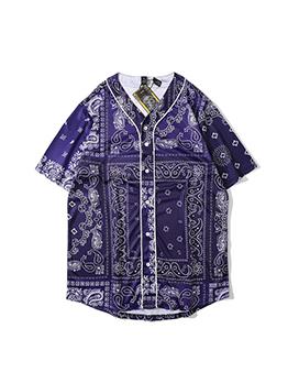 Vintage Paisley Printed V Neck Shirt For Men