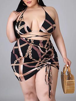 Plus Size Alluring Chain 4 Piece Skirt Set