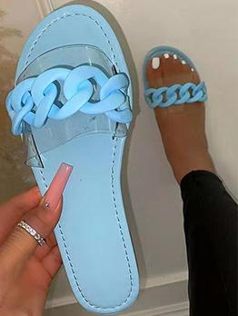 Pure Color Round Toe Summer Ladies Slide Slippers
