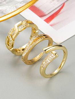 Geometry Inlay Zircon Trendy Women Ring