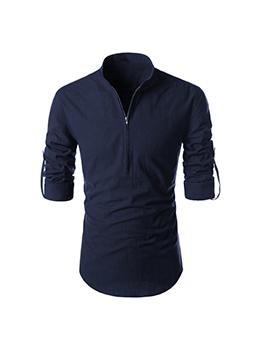 Pure Zipper Long Sleeve Shirts For Men