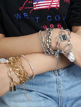 Alloy Material Street Snap Bracelet Set