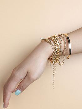 Street Snap Geometry Golden Women Bracelet Set