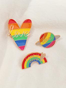 Cute Rainbow Heart Letter Brooch For Women