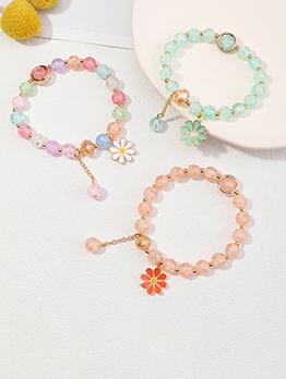 Youthful Faux-Crystal Round Sunflower Pendant Bracelet