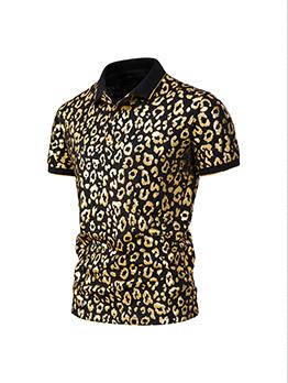Masculine Leopard Regular Sleeve Polo Shirt