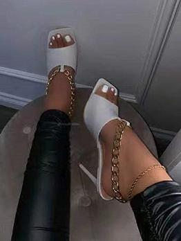 Unique Square Toe Chain Ladies Heel Sandal