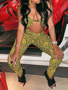 Fashion Halter Print Top With Long Pants