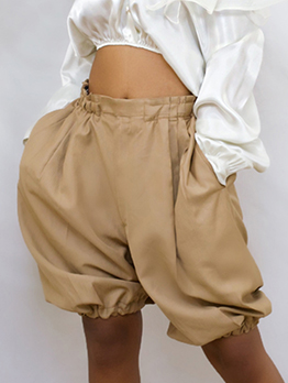 Casual Solid Pocket Half Pants For Women