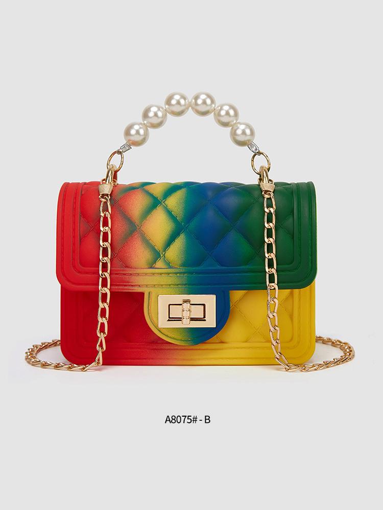 Fashion Gradient Color Rhombus Plaid Crossbody Bag