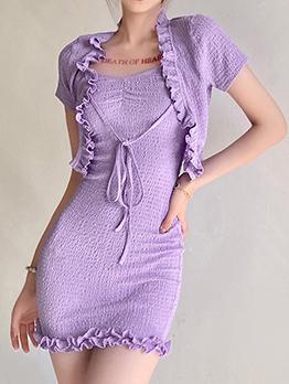 Trendy Purple Color Summer Two Pieces Dress Set