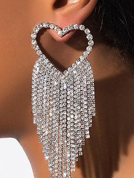 Elegant Heart  Rhinestone Tassel Earring For Women
