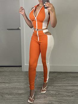 Stylish Contrast Color Zipper 2 Piece Pant Set