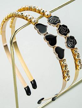 Korean Heart Rose Rhinestone Hair Hoop For Women