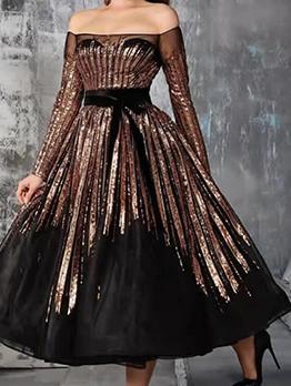 Fashion Off Shoulder Sequined Evening Dresses For Women