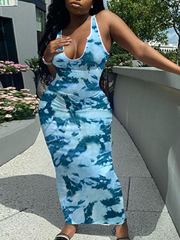 V Neck Tie Dye Print Bodycon Maxi Dress