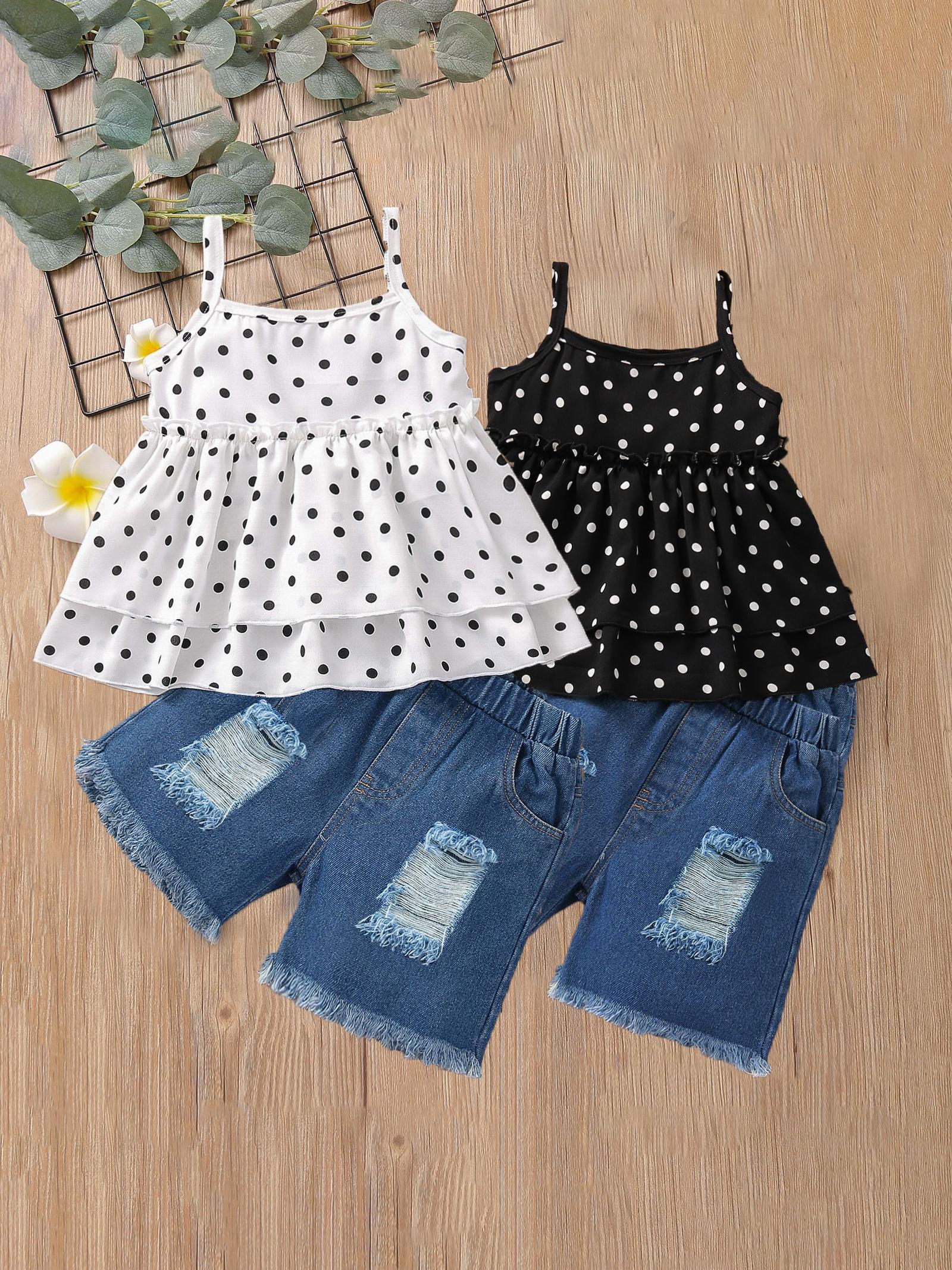 Fashion Dot Sleeveless Top And Pant Set